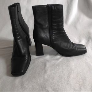 Vintage Square Toe Black Leather Boots